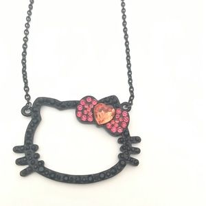 Hello Kitty Black Rhinestone Outline Necklace